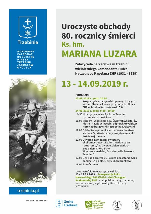 Plakat obchodów jubileuszu ks Luzara
